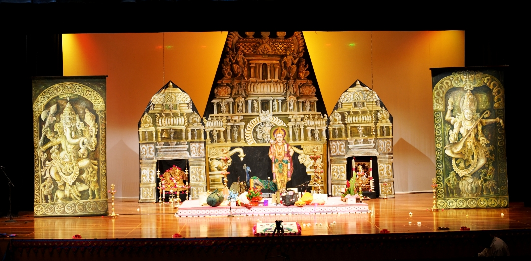 Stage decor for carnatic music concert stage decor backdrops for Arangetram stage decoration ideas
